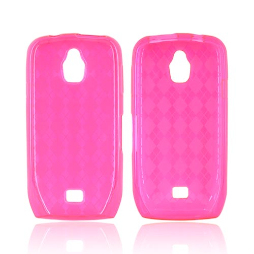 Samsung Exhibit T759 Crystal Silicone Case - Argyle Hot Pink