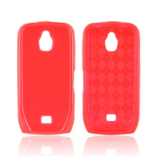 Samsung Exhibit T759 Crystal Silicone Case - Argyle Red