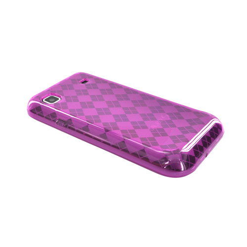Samsung Galaxy S 4G / Vibrant Crystal Silicone Case - Hot Pink Argyle Diamonds