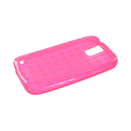 T-Mobile Samsung Galaxy S2 Crystal Silicone Case - Argyle Hot Pink