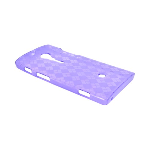 Sony Xperia Ion T28i Crystal Silicone Case - Argyle Purple
