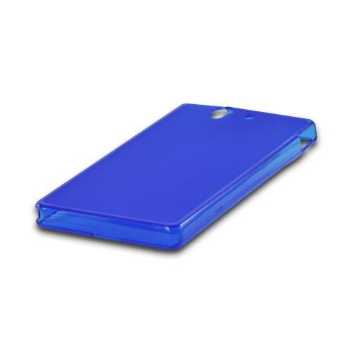Matte Blue Crystal Silicone Case w/ Polished Borders for Sony Xperia Z