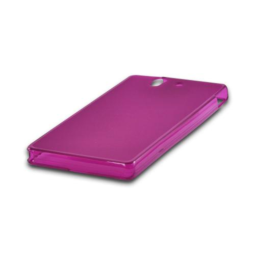 Matte Purple Crystal Silicone Case w/ Polished Borders for Sony Xperia Z