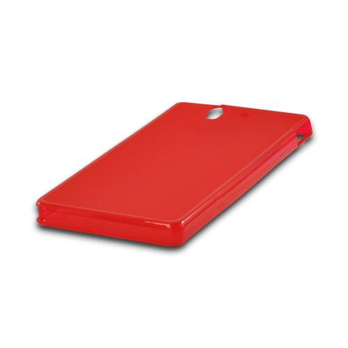 Matte Red Crystal Silicone Case w/ Polished Borders for Sony Xperia Z