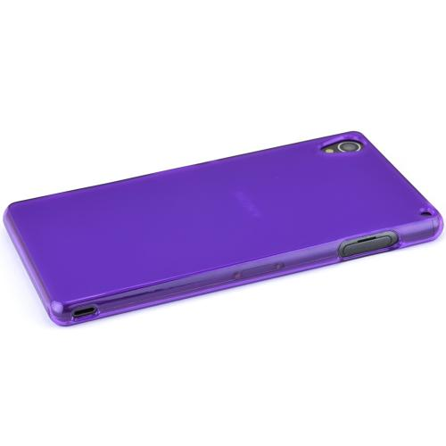 Sony Xperia Z3 Tpu Case [purple/frost] Protective Bumper Case W/ Flexible Crystal Silicone Tpu Impact Resistant Material