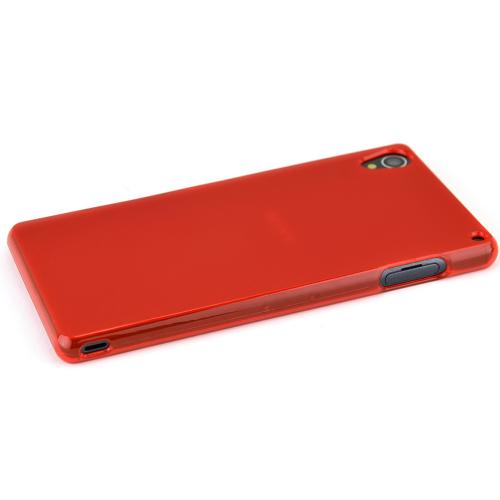 Sony Xperia Z3 Tpu Case [red/frost] Protective Bumper Case W/ Flexible Crystal Silicone Tpu Impact Resistant Material [Fitting Sony Xperia Z3 Case]