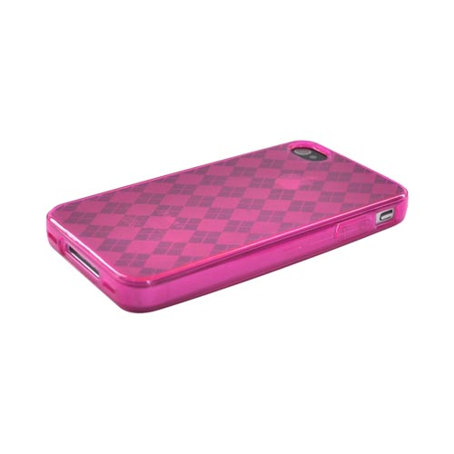 Apple Verizon/ AT&T iPhone 4, iPhone 4S Crystal Silicone Case - Argyle Hot Pink