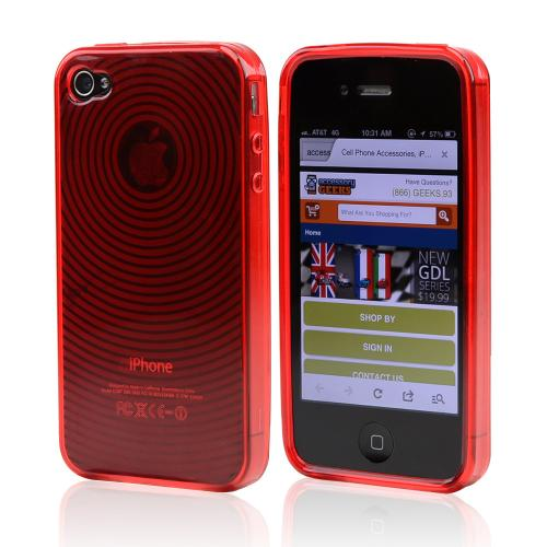 Apple Verizon/ AT&T iPhone 4, iPhone 4S Crystal Silicone Case - Red w/ Swirls