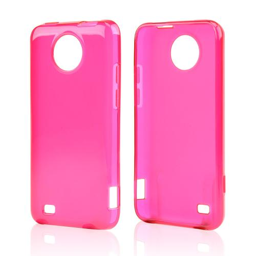 Hot Pink/ Frosted Crystal Silicone Skin Case for ZTE Vital
