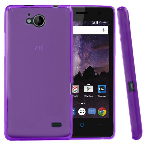 [ZTE Tempo] Case, REDshield [Purple] Slim & Flexible Anti-shock Crystal Silicone Protective TPU Gel Skin Case Cover