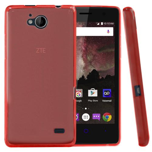 [ZTE Tempo] Case, REDshield [Red] Slim & Flexible Anti-shock Crystal Silicone Protective TPU Gel Skin Case Cover