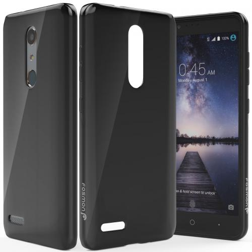 ZTE Z Max Pro Case, Slim & Flexible Anti-shock Crystal Silicone Protective TPU Gel Skin Case Cover [Black]