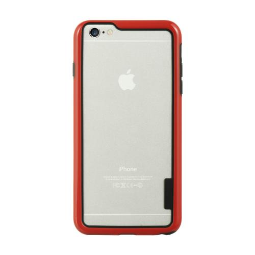 Red/ Black TPU Crystal Silicone Bumper Made for Apple iPhone 6/6S Plus (5.5 inch) - Show off Your Device While Protecting it!