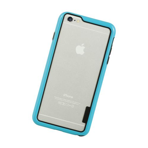 Sky Blue/ Black TPU Crystal Silicone Bumper Made for Apple iPhone 6/6S Plus (5.5 inch) - Show off Your Device While Protecting it!