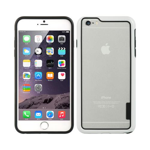 White/ Black TPU Crystal Silicone Bumper Made for Apple iPhone 6/6S Plus (5.5 inch) - Show off Your Device While Protecting it!