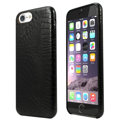 Apple iPhone 7 (4.7 inch) Case, Incircle [Bareskin Series] Ultra Slim Fit Faux Leather Flexible Bumper Case [Black Alligator]