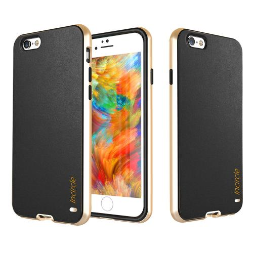 [Apple iPhone 6/6S] (4.7 inch) Case, Incircle [Dual Protection Series] Premium Faux Leather Bumper Cover Case [Black]