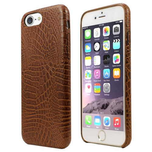 [Apple iPhone 7] (4.7 inch) Case, Incircle [Bareskin Series] Ultra Slim Fit Faux Leather Flexible Bumper Case [Brown Alligator]