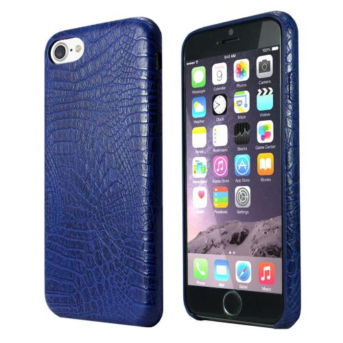 Apple iPhone 7 (4.7 inch) Case, Incircle [Bareskin Series] Ultra Slim Fit Faux Leather Flexible Bumper Case [Blue Alligator]