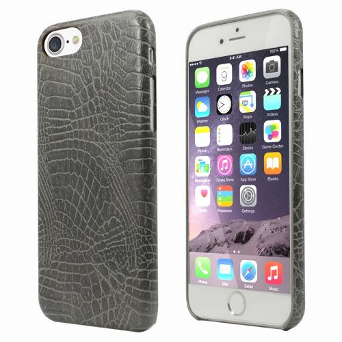 Apple iPhone 7 (4.7 inch) Case, Incircle [Bareskin Series] Ultra Slim Fit Faux Leather Flexible Bumper Case [Gray Alligator]