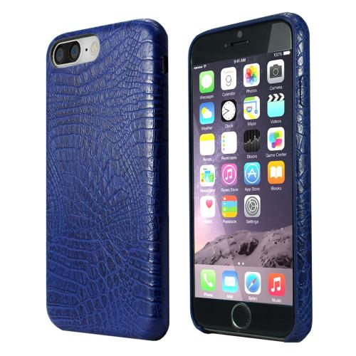 [Apple iPhone 7 Plus] (5.5 inch) Case, Incircle [Bareskin Series] Ultra Slim Fit Faux Leather Flexible Bumper Case [Blue Alligator]