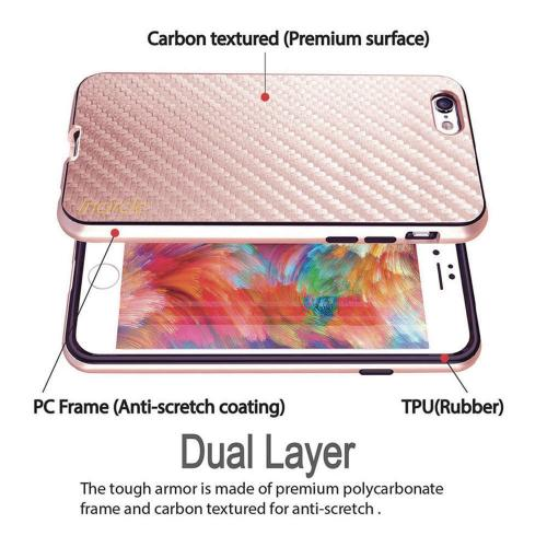 Apple iPhone 6S/6 (4.7 inch) Case, Incircle [Dual Protection Series] Premium Carbon Fiber Design Bumper Cover Case [Rose Gold]