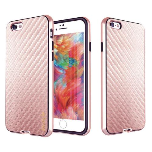 [Apple iPhone 6/6S] (4.7 inch) Case, Incircle [Dual Protection Series] Premium Carbon Fiber Design Bumper Cover Case [Rose Gold]