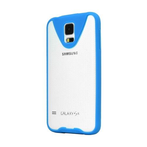 REDShield Blue Samsung Galaxy S5 Flexible Crystal Silicone TPU Bumper w/ Built-In Screen Protector - Conforms To Your Phone Without Stretching Out!