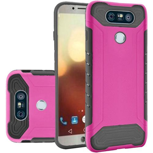 LG G6 Case, Shockproof Protection TPU & PC Hybrid Cover Case [Hot Pink / Black] with Travel Wallet Phone Stand