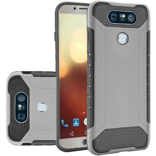 LG G6 Case, Shockproof Protection TPU & PC Hybrid Cover Case [Silver/ Black] with Travel Wallet Phone Stand