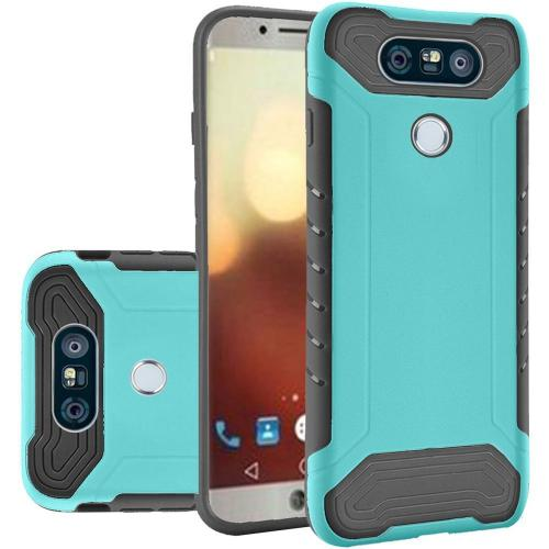LG G6 Case, Shockproof Protection TPU & PC Hybrid Cover Case [Teal/ Black] with Travel Wallet Phone Stand