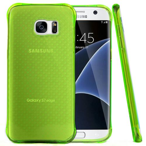 Samsung Galaxy S7 Edge Case,  REDshield [Neon Green] Durable Anti-shock Crystal Silicone Protective TPU Gel Skin Case Cover