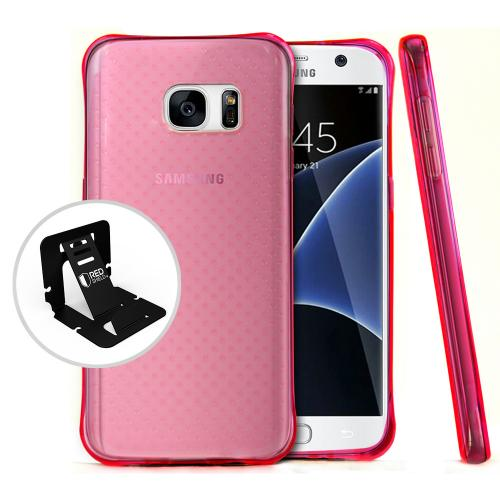 [Samsung Galaxy S7] Case,  REDshield [Hot Pink] Durable Anti-shock Crystal Silicone Protective TPU Gel Skin Case Cover with Travel Wallet Phone Stand