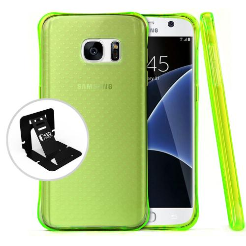[Samsung Galaxy S7] Case,  REDshield [Neon Green] Durable Anti-shock Crystal Silicone Protective TPU Gel Skin Case Cover with Travel Wallet Phone Stand