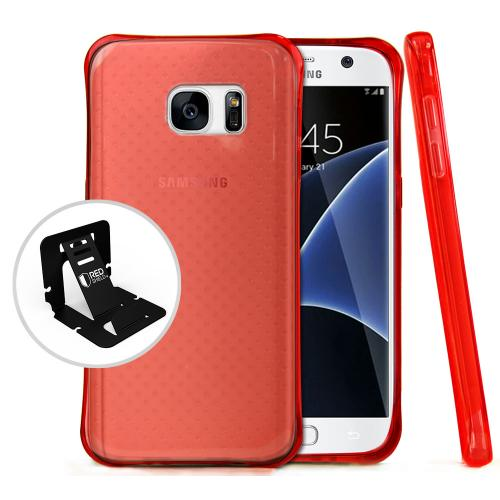 [Samsung Galaxy S7] Case,  REDshield [Red] Durable Anti-shock Crystal Silicone Protective TPU Gel Skin Case Cover with Travel Wallet Phone Stand