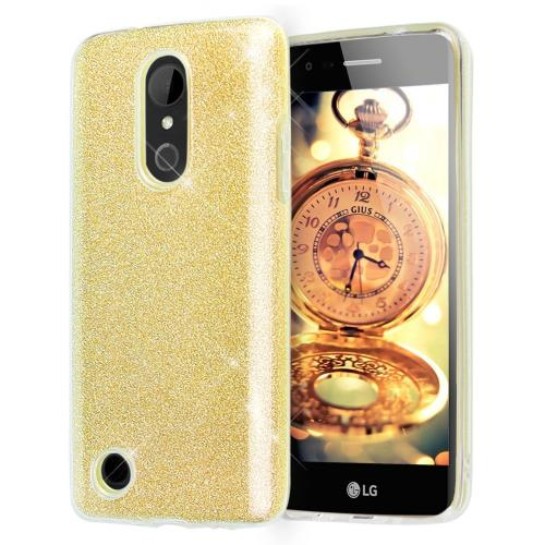 LG Aristo Case, Slim & Flexible Anti-shock Crystal Silicone TPU Skin Protective Cover w/ PC Hard Back [Gold Glitter]