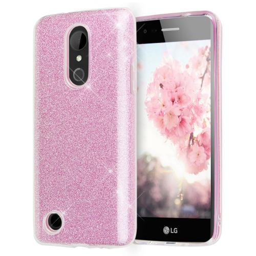 LG Aristo Case, Slim & Flexible Anti-shock Crystal Silicone TPU Skin Protective Cover w/ PC Hard Back [Pink Glitter]