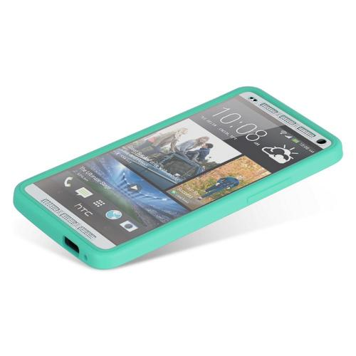 Aqua Crystal Silicone Skin Case w/ Clear Flip-Open Screen Protector Cover for HTC One