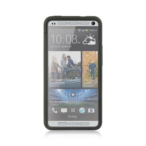 Black Crystal Silicone Skin Case w/ Clear Flip-Open Screen Protector Cover for HTC One