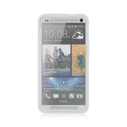 White Crystal Silicone Skin Case w/ Clear Flip-Open Screen Protector Cover for HTC One