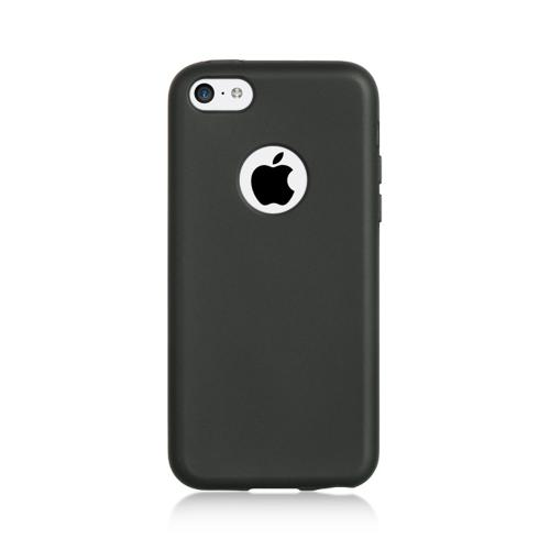 Black Crystal Silicone Skin Case w/ Clear Flip-Open Screen Protector Cover for Apple iPhone 5C