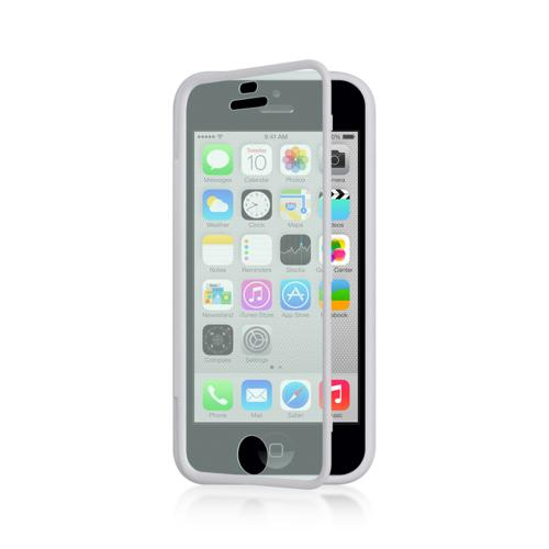 White Crystal Silicone Skin Case w/ Clear Flip-Open Screen Protector Cover for Apple iPhone 5C