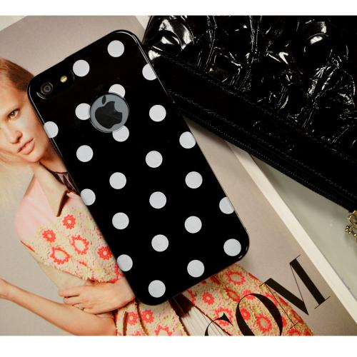 Black/ White Polka Dots Anti-Slip Dot Jelly Series Crystal Silicone Case for Apple iPhone 5/5S - XXIP5