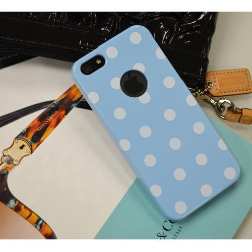 Sky Blue/ White Polka Dots Anti-Slip Dot Jelly Series Crystal Silicone Case for Apple iPhone 5/5S - XXIP5