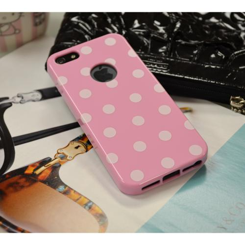 Baby Pink/ White Polka Dots Anti-Slip Dot Jelly Series Crystal Silicone Case for Apple iPhone 5/5S - XXIP5