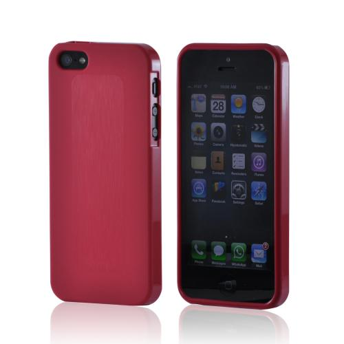 Red Super Premium Anti-Slip Crayon Series Crystal Silicone Case for iPhone 5/5S