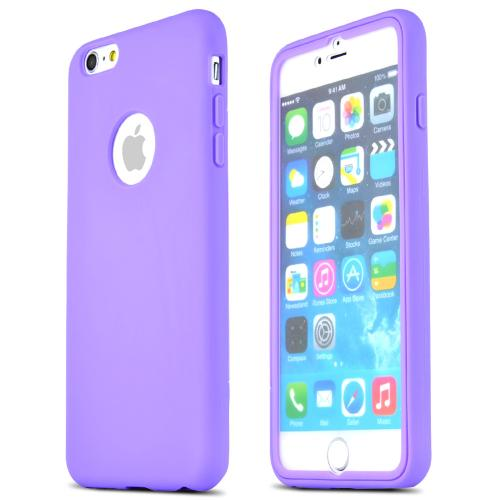 Apple iPhone 6 PLUS/6S PLUS (5.5 inch) Tpu Case W/ Clear Flip-open Screen Protector Cover [purple / Frost]  Bumper Case W/ Built-in Scratch Resistant Screen Protector