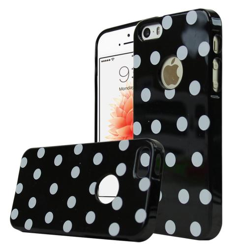 [Apple iPhone SE/5/5S] Case,  [Black/ White Polka Dots] Dot jelly Series Slim & Flexible Anti-shock Crystal Silicone Protective TPU Gel Skin Case Cover