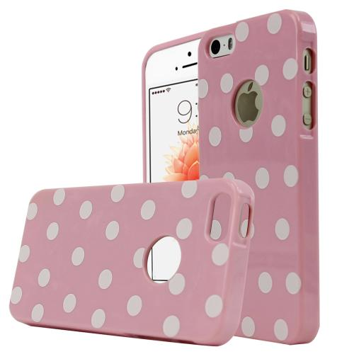 [Apple iPhone SE/5/5S] Case,  [Baby Pink/ White Polka Dots] Dot jelly Series Slim & Flexible Anti-shock Crystal Silicone Protective TPU Gel Skin Case Cover