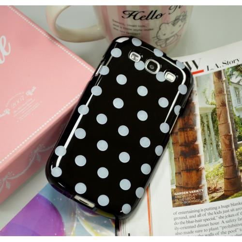 Manufacturers Black/ White Polka Dots Anti-Slip Dot Jelly Series Crystal Silicone Case for Samsung Galaxy S3 Skins